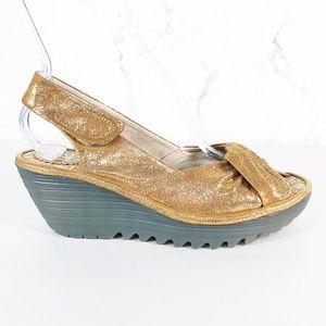 Fly London Yakin Gold Slingback Wedge Sandals